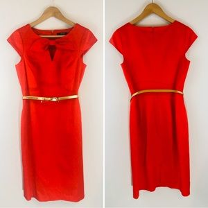 Alex Marie Red Career Dress with Gold Belt Sz 4